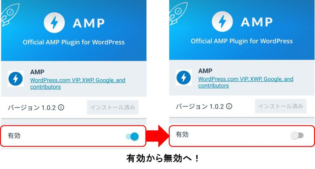 AMP有効から無効
